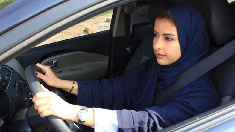 Female drive car at Dubai